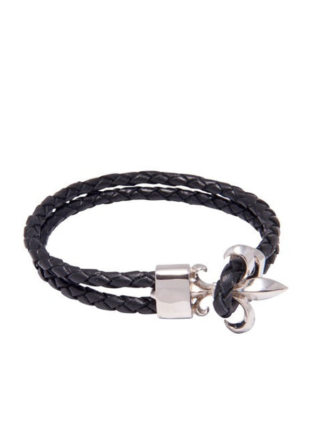 Black Leather Bracelet with Silver Fleur de Lis Lock