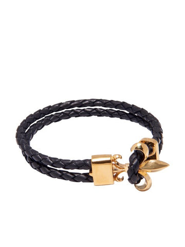 Black Leather Bracelet with Gold Fleur de Lis Lock