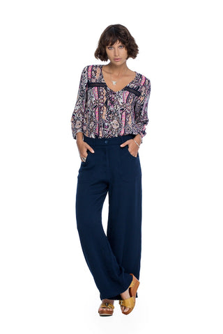 Vogue Wide Leg Pants - Deep Blue