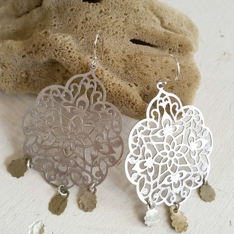 3 Charm Filigree Earrings