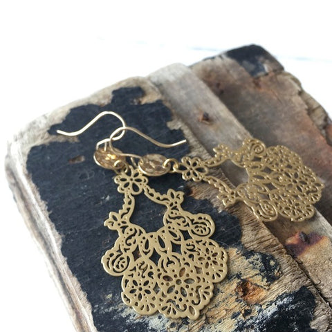 Gold Fine Lace Earrings