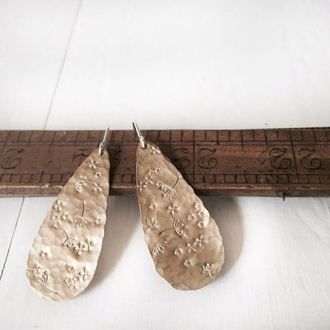 Stamped Brass Drop Earrings