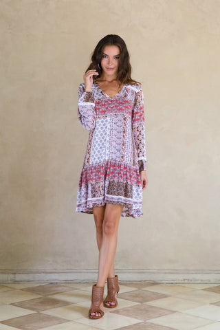 Deity Drop Dress - Indian Rose