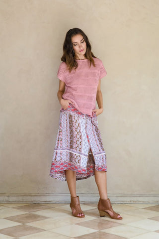 Desire Midi Skirt - Indian Rose