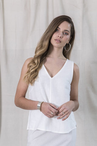 Essential Linen Top - Ivory
