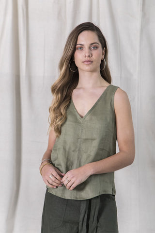 Essential Linen Top - Khaki