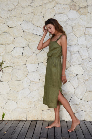 Faithful Overall Dress - Khaki
