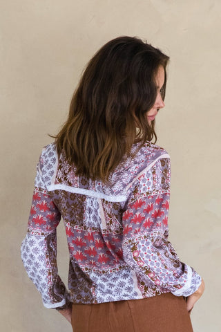 Shala Bell Blouse - Indian Rose