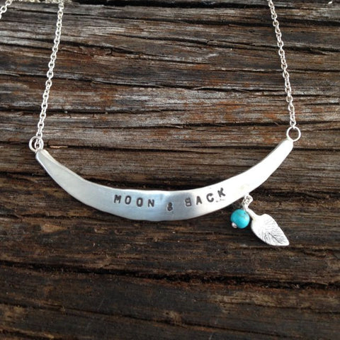 Moon and back necklace - silver