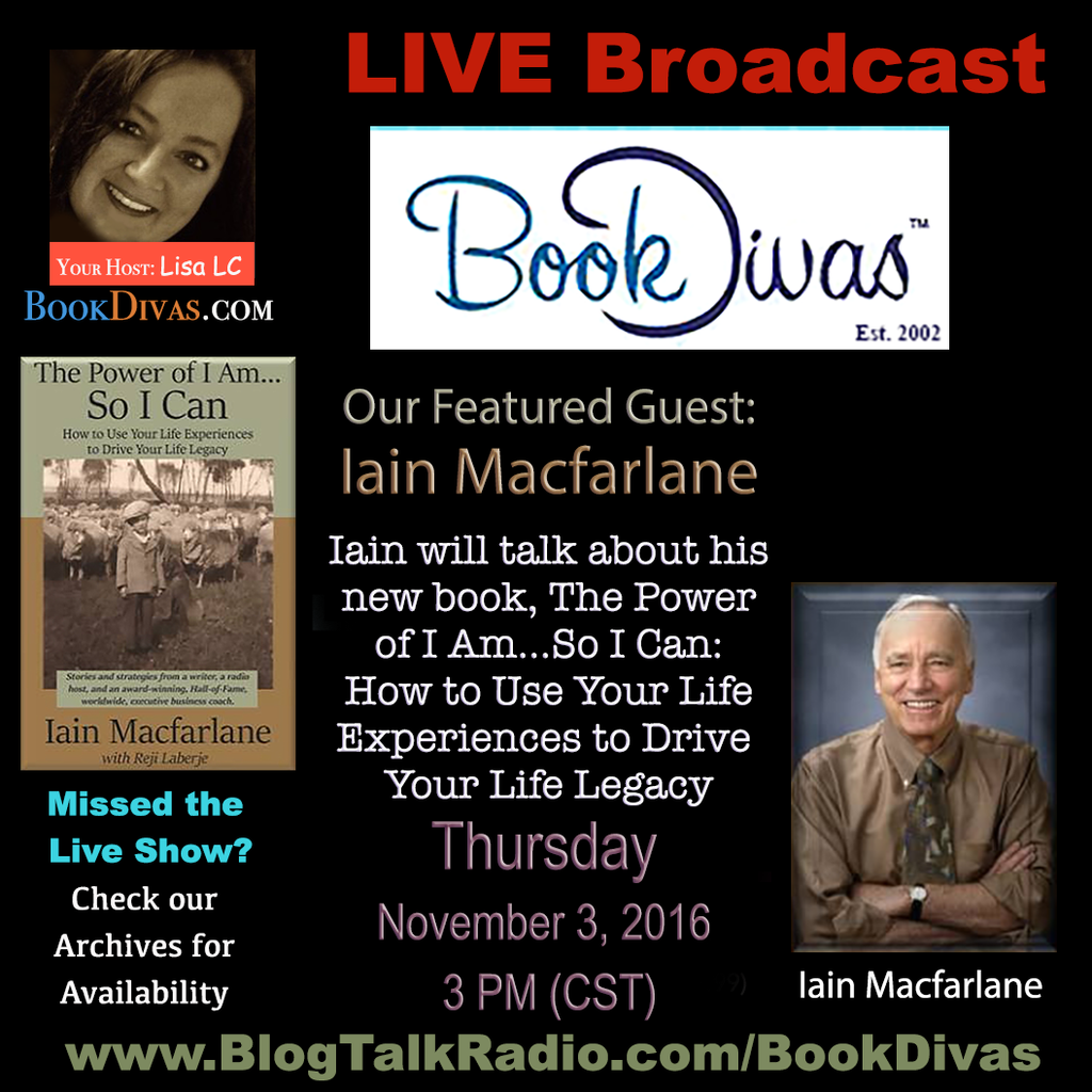 Today at 3PM (CST) Iain Macfarlane on Book Divas Show