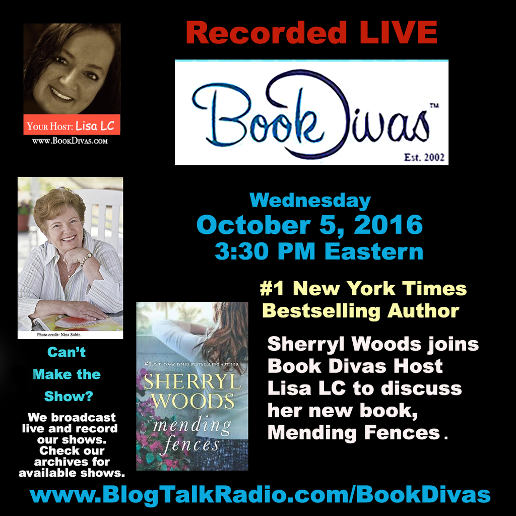 #1 NYT Bestselling Author Sherryl Woods LIVE Interview on Book Divas 10/5/16