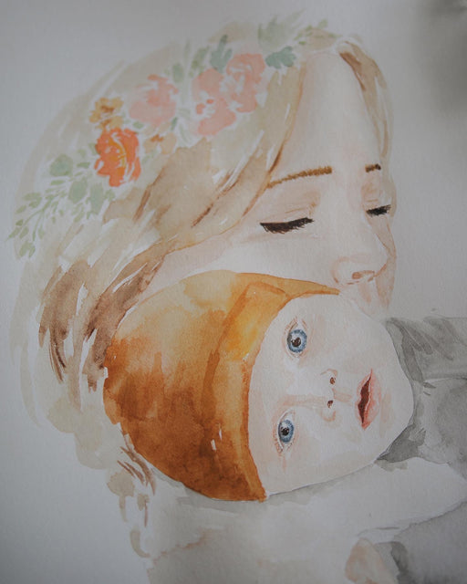 Custom water color painting example. Mother holding a child.