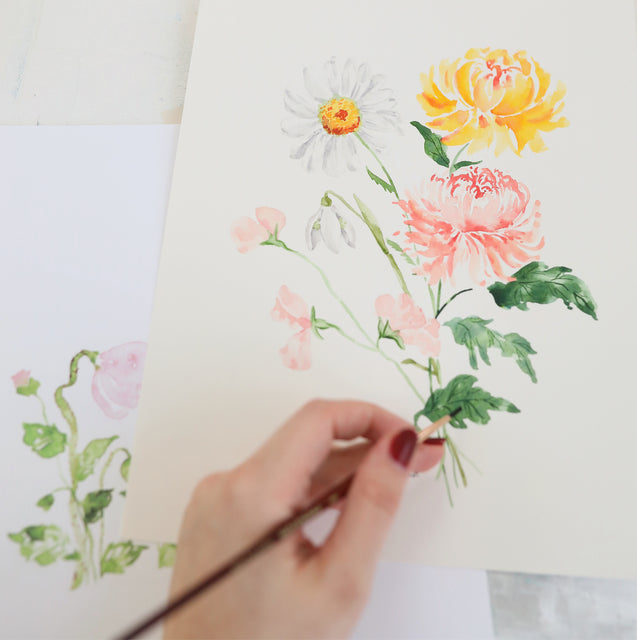 Detailed beautiful artwork painting of flowers.