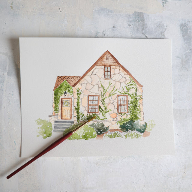 Custom detailed painting home or building artwork example.