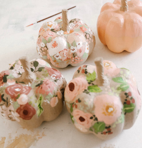 Custom Hand-Painted Floral Pumpkins