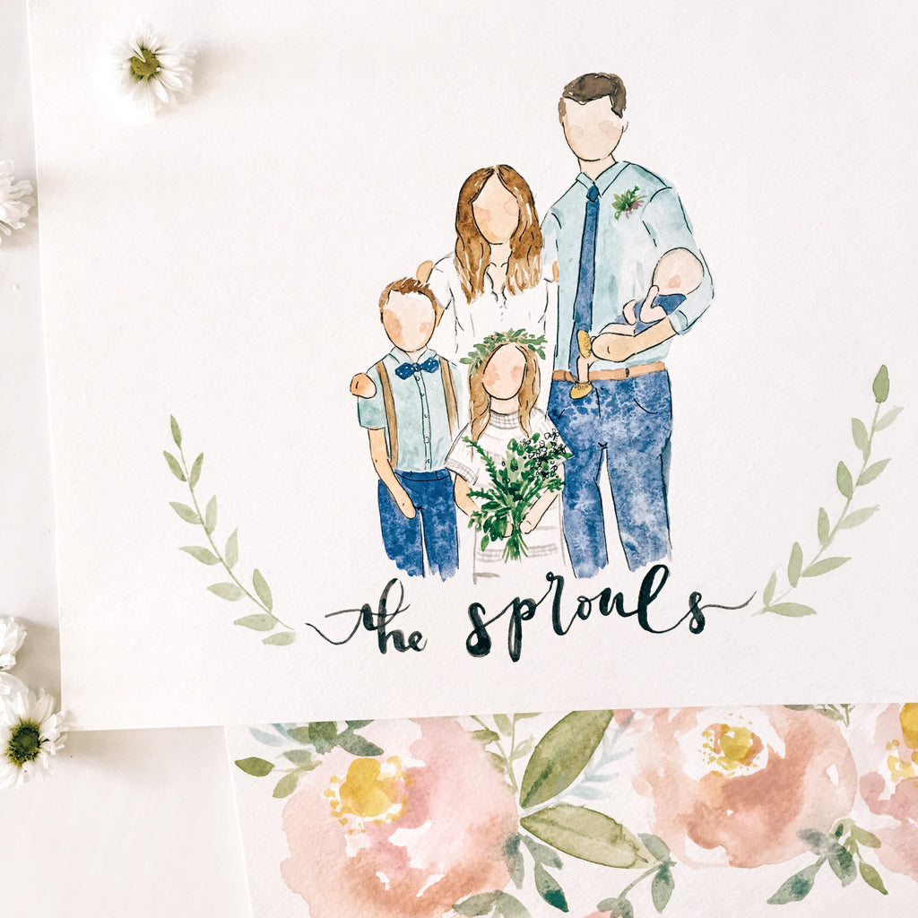 Custom Family Portrait Watercolor