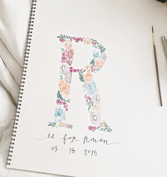 Custom Garden Initials - watercolored