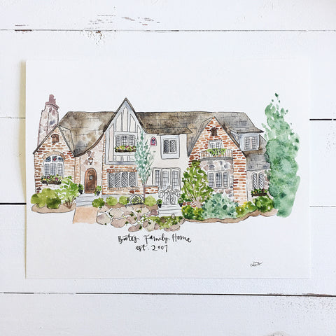 Custom home/building portrait watercolor