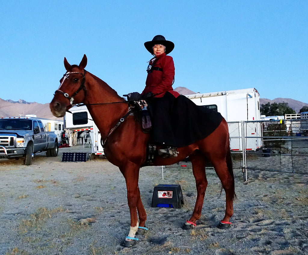 Dawn Champion posing on her brown horse wearing blue and red Scoot Boots in the sand
