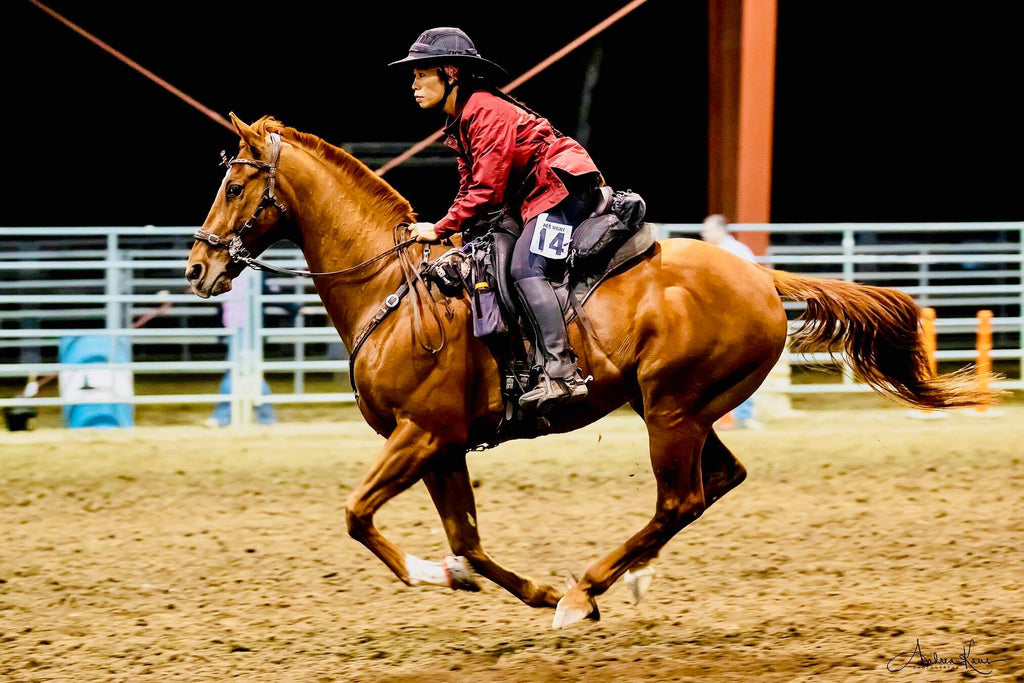 A brown horse wearing Scoot Boots galloping in a sand areana in a barrel racing competition