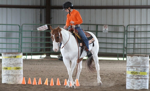 A girl in an orange top side passing a paint horse over cones