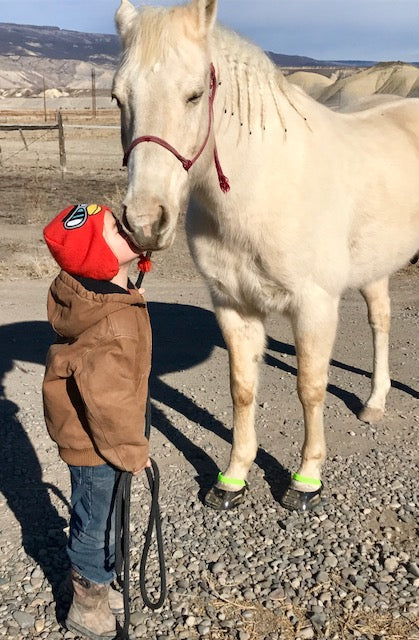 A young boy wearing a red hat kissing his white horse wearing green Scoot Boots on gravel