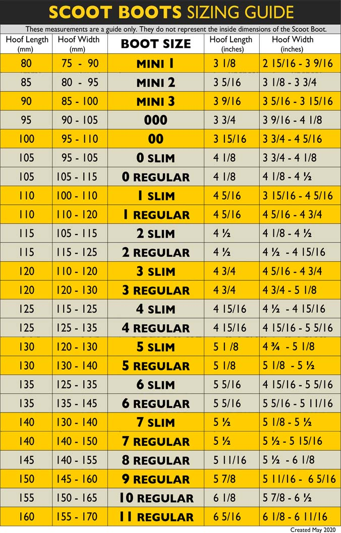 Scoot Boots Sizing Chart