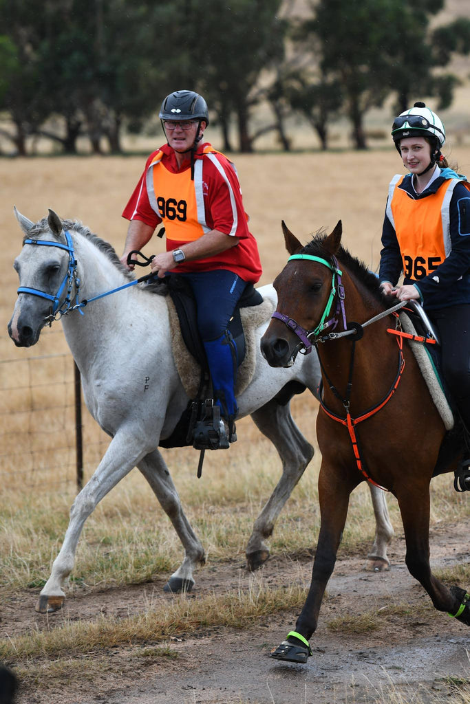 Two endurance riders competing on grey and brown horses wearing green Scoot Boots
