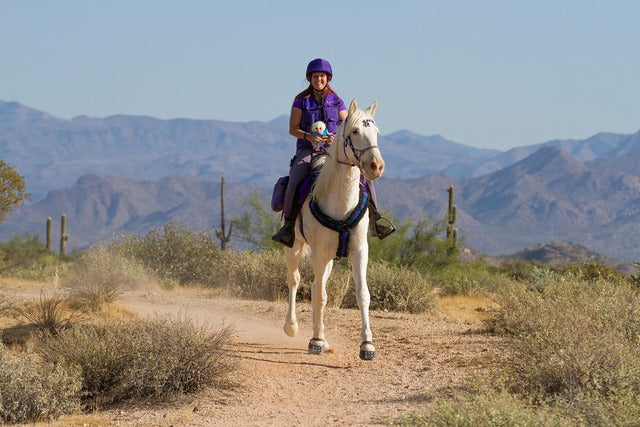 Woman wearing purple clothing riding a white horse wearing purple Scoot Boots in an endurance competition
