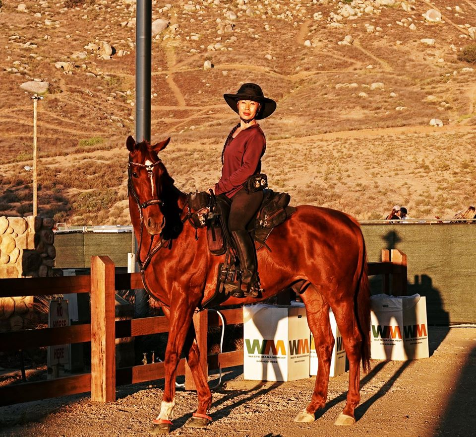Dawn Champion posing on her brown horse wearing Scoot Boots in the desert