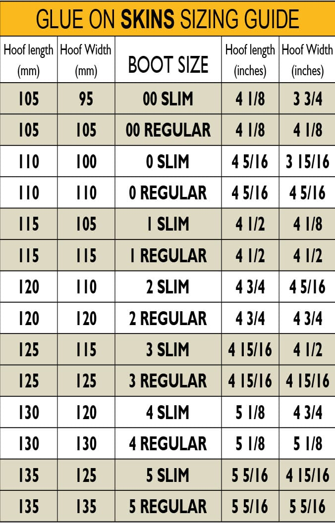 Scoot Slims Sizing Chart