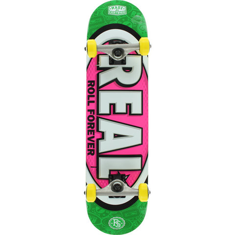 "Real Oval Tones MD Complete Skateboard - 7.75"" Lime/Pink"