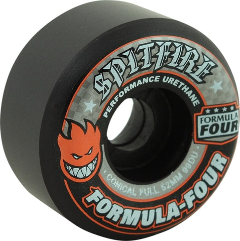 Spitfire Wheels F4 Conical Full 52mm 99a - Black/Grey (Set of 4)