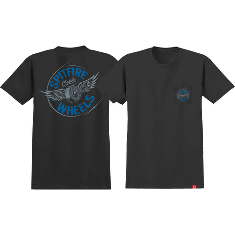 Spitfire Flying Classic Pocket T-Shirts Medium - Black/Blue
