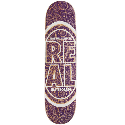 "Real Stacked Floral Oval Skateboard Deck - 7.30"" Purple"