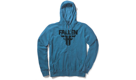 Fallen Youth Hooded Zip Insignia- heather royal/black