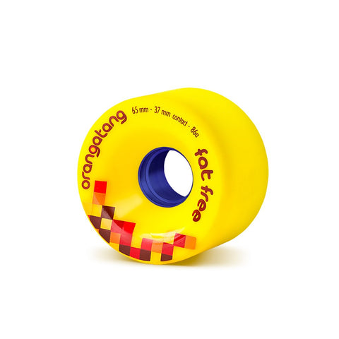 Orangatang Fat Free 65mm 86a Longboard Wheels - Yellow (Set of 4)