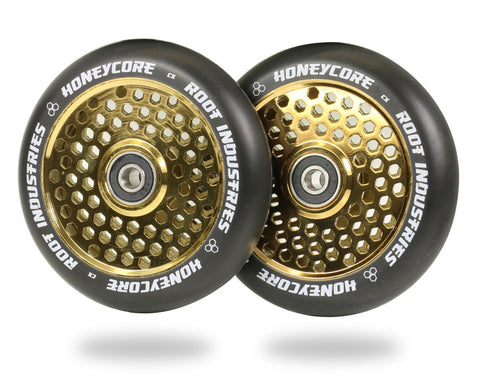Root Industries 110mm HoneyCore Wheels - Black/Gold Rush (Pair)