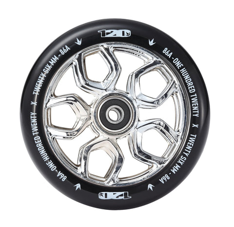 Envy Scooter Wheel Lambo 120mm -  Chrome/Black (Pair)