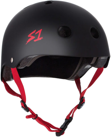 S1 Lifer Helmet - Black Matte/Red Straps