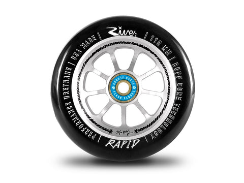 River Wheels Hold Fast Rapids 110mm Matt McKeen Sig - Black On Silver (Pair)