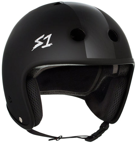 S1 Retro Lifer Helmet - Black Matte/Black Stripes
