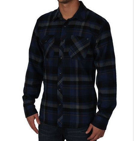 Volcom Flannel Gizzmo Long Sleeve- blue moon