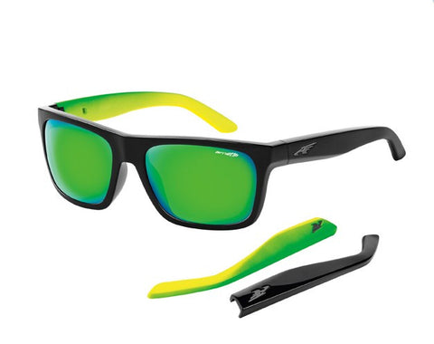 Arnette Sunglasses Dropout - Gloss Black/Neon Green - Skates USA