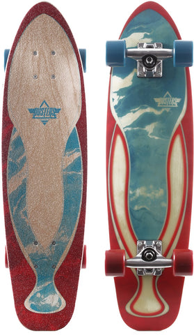 "Dusters Dye Marble Cruiser Complete Skateboard 29"" - Red/Blue"