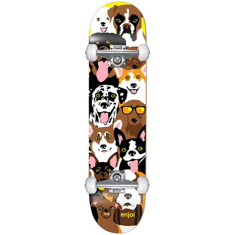 "Enjoi Dog Collage Youth Complete Skateboard 7.375"" - Yellow"