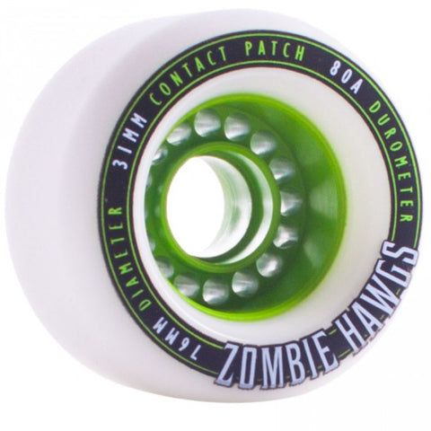 Landyachtz Longboard Wheels Zombie Hawgs 76mm 80a (Set of 4) -white