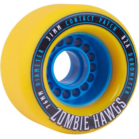 Landyachtz Longboard Wheels Zombie Hawgs 76mm 82a - Yellow (Set of 4)
