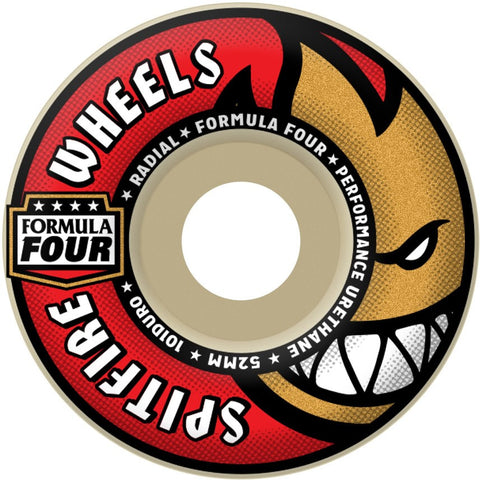 Spitfire Wheels F4 Radials 52mm 101a - Red (Set of 4)