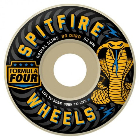Spitfire Wheels F4 Radial Slim 51mm 99a - White (Set of 4)